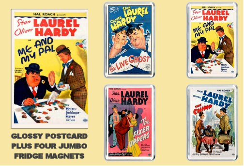 Laurel and hardy Postcard and Fridge magnets GIFTS