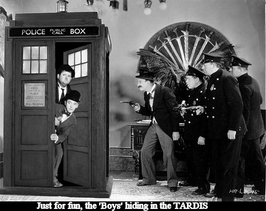 Laurel and hardy meet Doctor Who and the TARDIS
