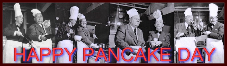 Laurel and Hardy celebrate Pancake day