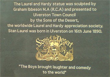 Laurel & Hardy Statue plaque