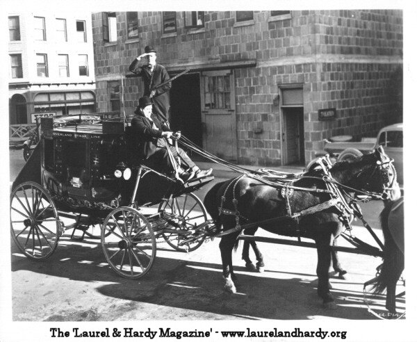 Laurel and Hardy ride the stage coach
